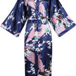 ArtiDeco-Vestido-Kimono-Pijama-de-Seda-Novia-Kimono-de-Seda-Ropa-de-dormir-de-Satn-Estampado-Pavo-Real-0
