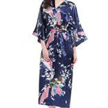 ArtiDeco-Vestido-Kimono-Pijama-de-Seda-Novia-Kimono-de-Seda-Ropa-de-dormir-de-Satn-Estampado-Pavo-Real-0-3