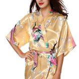 Avidlove-Pijama-lencera-Kimono-Corto-de-satn-de-Estampado-Floral-para-Mujer-0-0