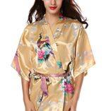 Avidlove-Pijama-lencera-Kimono-Corto-de-satn-de-Estampado-Floral-para-Mujer-0
