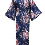 BABEYOND-Kimono-de-Seda-Vestido-de-Satn-Kimono-Pavo-Real-Novia-Pijamas-de-Seda-Bata-de-Satn-135-cm-0