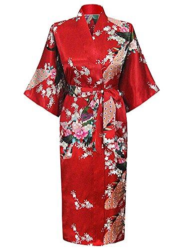 Cityoung-HonourSport-Albornoz-Mujer-Largo-Pava-de-Satn-Camisn-Sexy-Kimono-Vestido-0