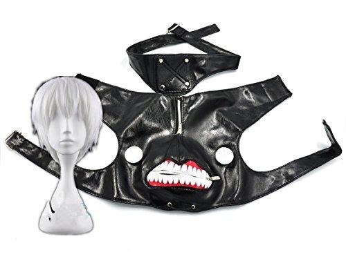 Cosplaza-Mscara-de-cosplay-de-cuero-negro-con-cremallera-color-negro-y-plateado-peluca-blanca-0