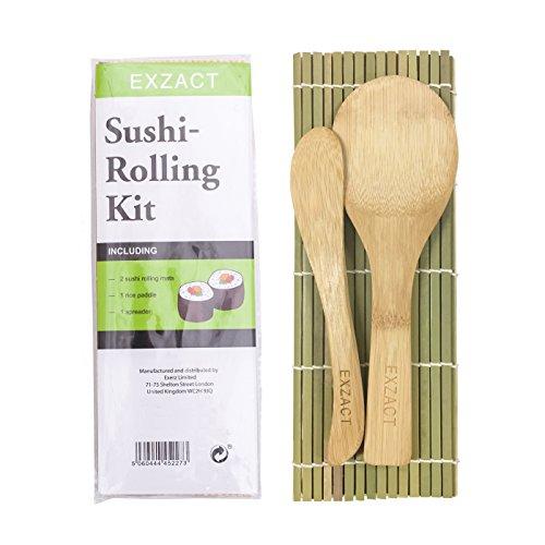 Exzact-EX-SR04-Kit-de-bamb-para-enrollar-Sushi–4-Piezas–2-x-esteras-1-x-Paleta-de-arroz-1-x-esparcidor-de-arroz-Todo-Natural-0