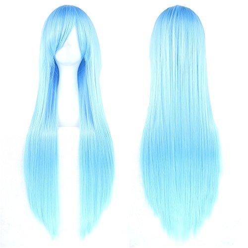 Fouriding-31580cm-peluca-larga-Cosplay-anime-mujer-pelo-largo-peluca-recta-sinttica-diaria-0
