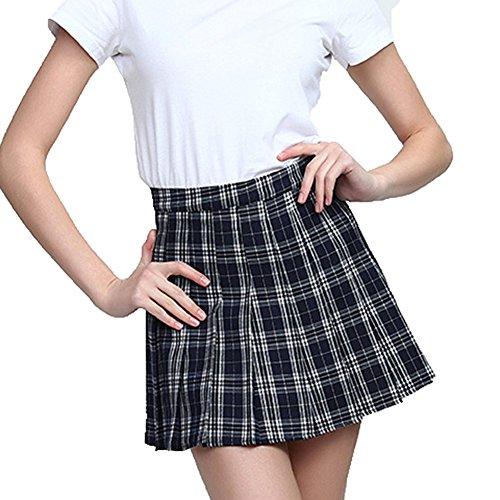Juleya-Mujeres-Cintura-Alta-Falda-Plisada-Wind-Cosplay-Falda-a-Cuadros-Mini-Faldas-Cortas-Debajo-0