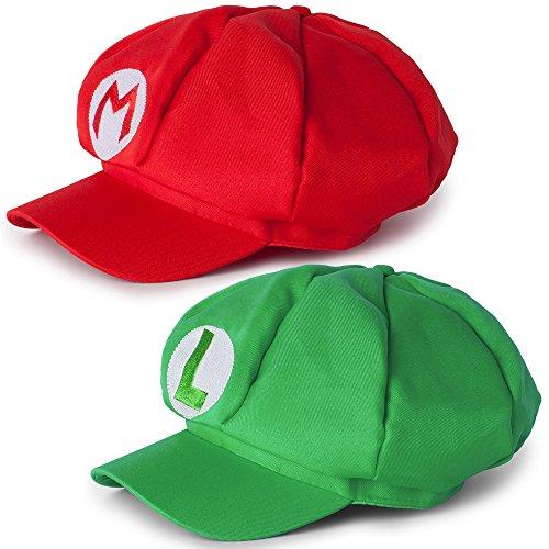 Katara-1658-Disfraz-de-Super-Mario-Bros-2-Gorras-Mario-y-Luigi-Roja-y-Verde-0