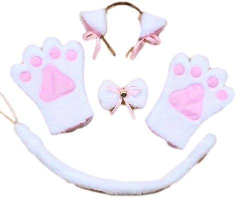 Orejas-de-gato-Patas-Conjunto-Moe-Moe-Cosplay-Nyanko-del-collar-4-gato-orejas-patas-guantes-Kazecho-atar-la-cola-Nyanko-blanco-Japn-importacin-El-paquete-y-el-manual-estn-escritos-en-japons-0