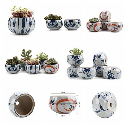 T4U-Cermica-Estilo-japons-Arcilla-de-Serie-Verde-Flor-de-Primavera-Cermicos-Planta-Maceta-Suculento-Cactus-Planta-Maceta-Planta-Contenedor-Vivero-Maceta-Macetas-de-jardn-Macetas-Envase-0