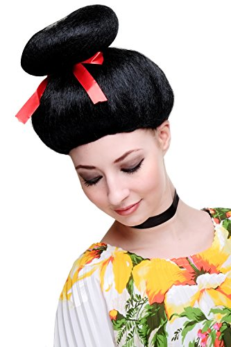 WIG-ME-UP-Carnaval-Peluca-Geisha-Asia-Japn-estilo-Cosplay-japons-China-Girl-negro-2120-P103-0